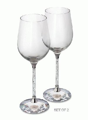 Swarovski Crystalline Red Wine Glasses (Set of 2), Swarovski Crystal (Swarovski) (Crystal Fox Gallery)