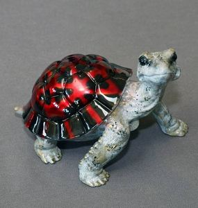 Black-Red Daden Bronze Turtle Sculpture by Barry Stein