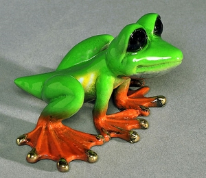 Multicolor Lime Dezerae Frog, Large-Bronze Sculpture by Barry Stein