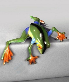 Multicolor Green Peek A Boo Bronze Frog by Barry Stein