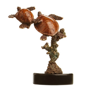 Double Sea Turtles Bronze Sculpture