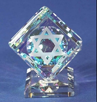 Optical Crystal Cube on Base with Star of David