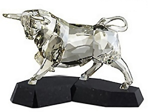Swarovski Soulmates Crystal Bull on Black Granite