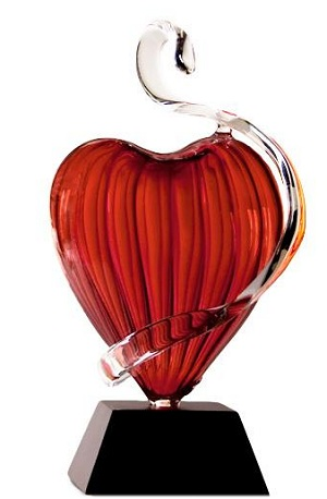 Frabel Studio Glass Heart Red Lady Heart Sculpture