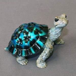 Black/blue Bronze Daden Turtle Sculpture by Barry Stein