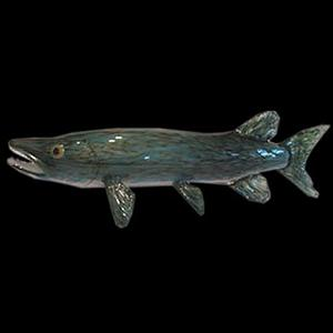 Freshwater Pike Art Glass Fish Sculpture by Soulglass