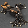 Alysa Orange and Black Barry Stein Bronze Frog Sculpture