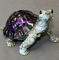 Black/Purple  Daden Bronze Turtle Sculpture by Barry Stein