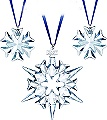 Swarovski Boxed set of 3 Christmas Ornaments 2007 - Retired