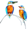 Swarovski Blue Turquoise Pair of Kingfishers, Large