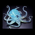Aqua Blue Glass Octopus Soulglass by Michael Hopko