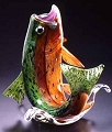 Soul Glass Brook Trout Leaping, Orange-Green-Purple