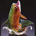 Soul Glass Golden Trout Leaping - Green-Yellow-Orange