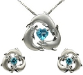 Artistica Harmony, Playful Moments 3 Dolphins Pendant & Earrings Set