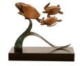 Triple Turtles Bronze Sealife Sculpture