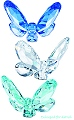 Butterflies - Swarovski Crystal Set of 3 (Blue, Green and Clear)