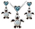 Artistica Sea Turtle Baby Cuddles Pendant and Earrings Set