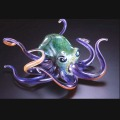 Green Violet Soul Glass Octopus Sculpture (please select size)