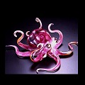 Red Soul Glass Octopus Sculpture (please select size)