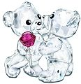 Swarovski Kris Bears - A Rose For You - 2 Swarovski Bears with Rose