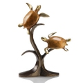 Double Sea Turtles Bronze Sealife Sculpture