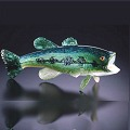 Large Mouth Bass Art Glass Sculpture by Soul Glass