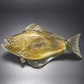 Halibut Salt Water Glass Fish Sculpture by Michael Hopko