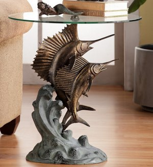 Marlin And Sailfish Glass Top Accent Table