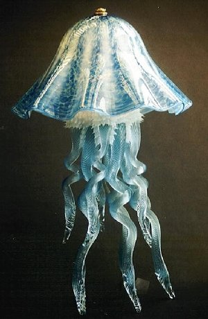 Blue green glass jellyfish lamp single dome joel bloomberg designs blue green glass jellyfish lamp single dome mozeypictures Choice Image