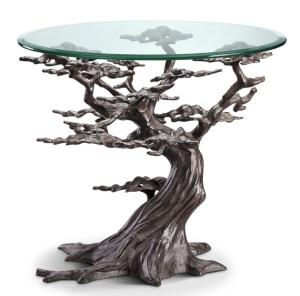 Aluminum, Iron Glass Cypress Tree End Table
