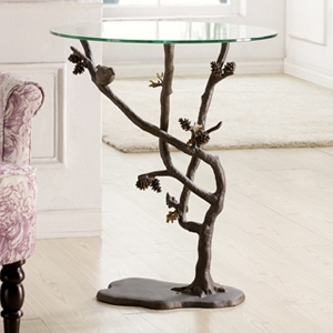 Bird And Pinecone Glass Top Pedestal Table