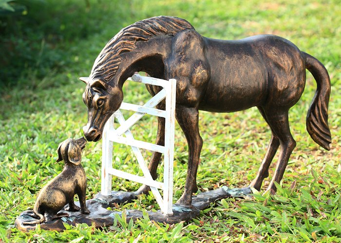 Barnyard Pals  Horse And Dog Garden Sculpture