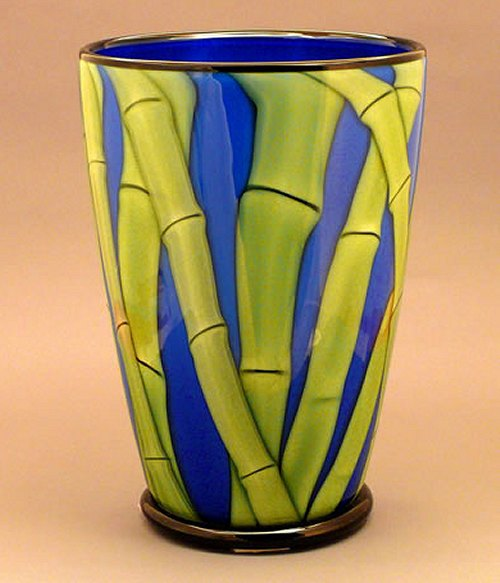 Blue Bamboo Glass Flower Vase By Orient And Flume Orient And Flume