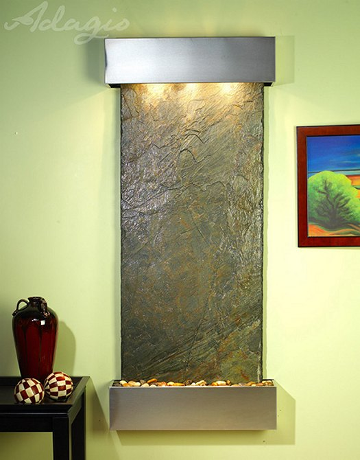 Inspiration Falls Stainless Steel and Green Slate Wall Fountain ...