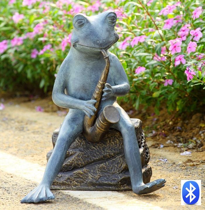 Frog Bluesman With Bluetooth Speaker Garden Sculpture