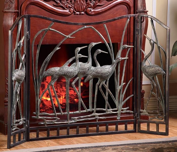 Crane Flock Decorative Fireplace Screen San Pacific International Crystal Fox Gallery
