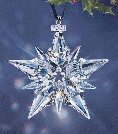 2002 Retired Swarovski Annual Ornament - Ornaments - Retired Dated SW Annual Edition Stars And Snowflakes