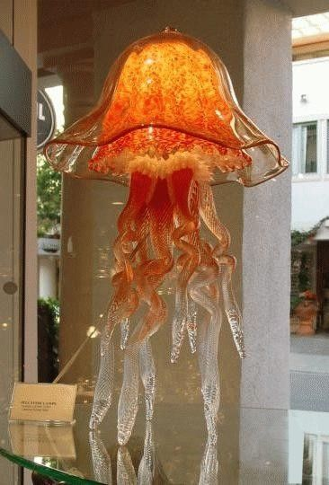 Orange Glass Jellyfish Lamp, Double Dome (Joel Bloomberg Designs ...