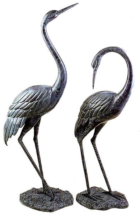 Etonnant Bronze Garden Cranes Pair Medium