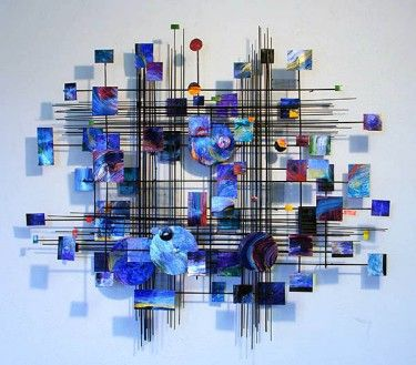 Metal Sculpture Wall Art blue metropolis metal wall sculpture - crystal-fox gallery