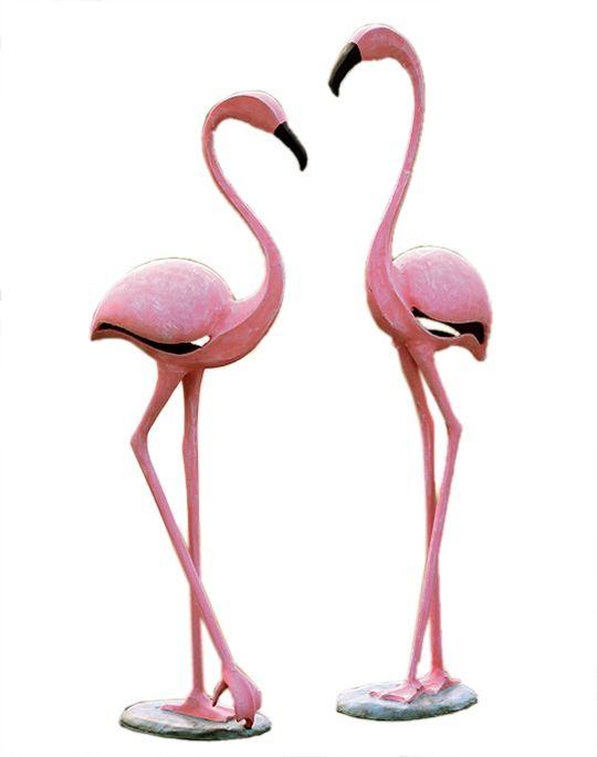 garden sculpture// garden design, bird sculpture// garden art Flamingo